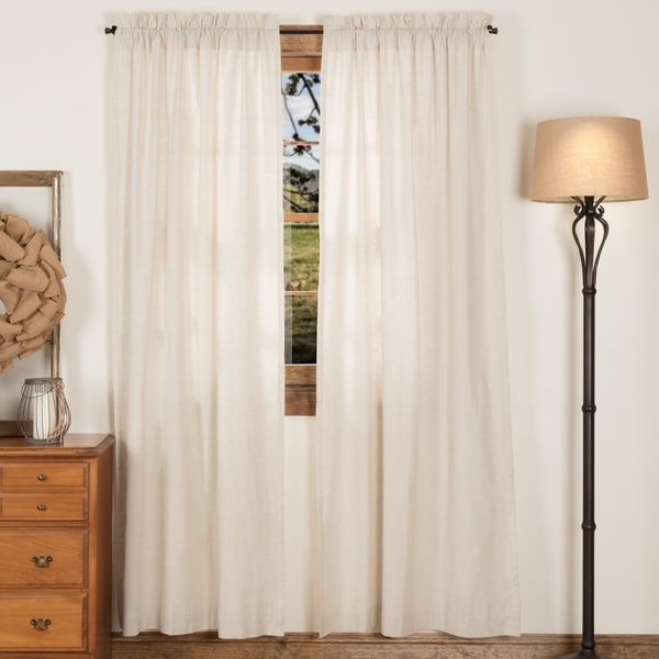 VHC Farmhouse French Country Curtains Simple Life Flax Solid Panel Pair