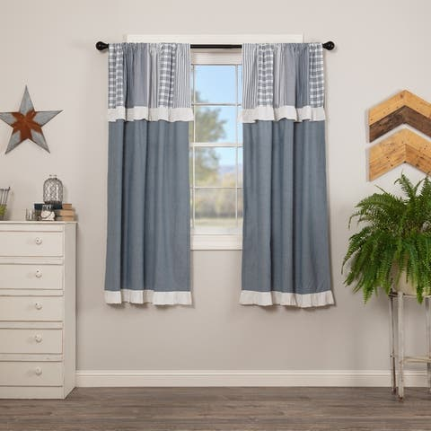Farmhouse Curtains VHC Sawyer Mill Panel Pair Rod Pocket Cotton Patchwork Chambray - 63x36