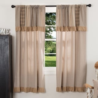 VHC Farmhouse Country Curtains Sawyer Mill Patchwork Short Panel with Valance Pair
