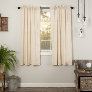 VHC Farmhouse French Country Curtains Simple Life Flax Solid Short Panel Pair