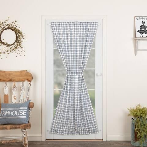 Farmhouse Curtains VHC Sawyer Mill Plaid Door Panel Rod Pocket Cotton - 72x40