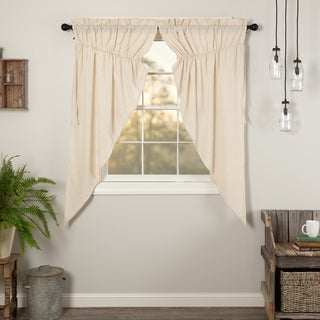 VHC Farmhouse French Country Curtains Simple Life Flax Solid Short Prairie Panel Pair