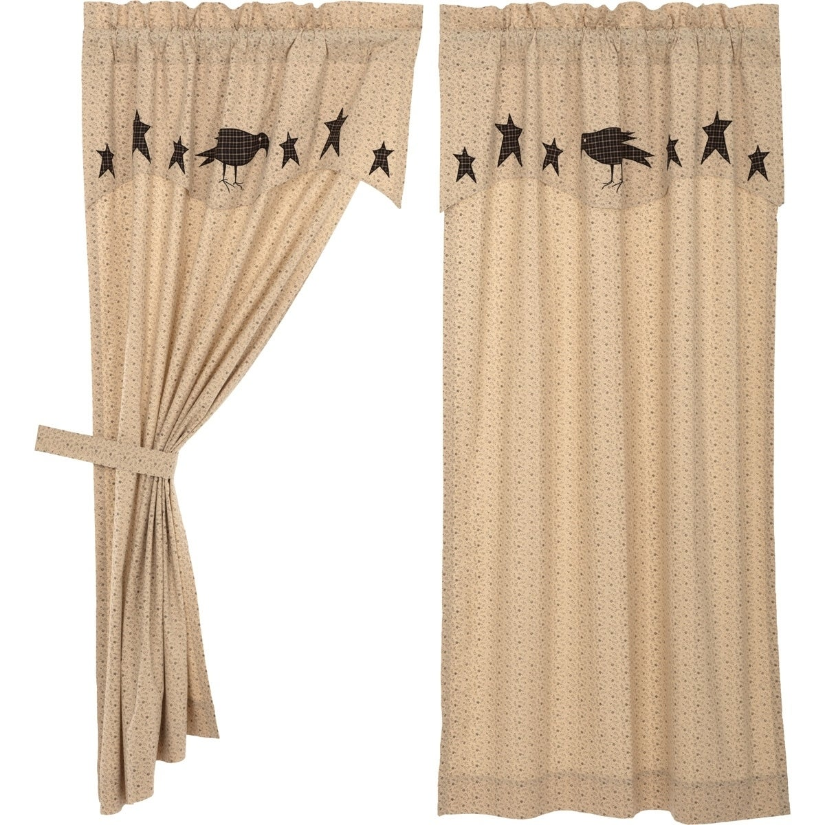 "Window Curtain Lined Panel Pair 63/"" Primitive Crow by Park Designs Tan Black"