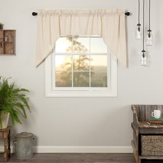 VHC Farmhouse French Country Curtains Simple Life Flax Solid Swag Pair