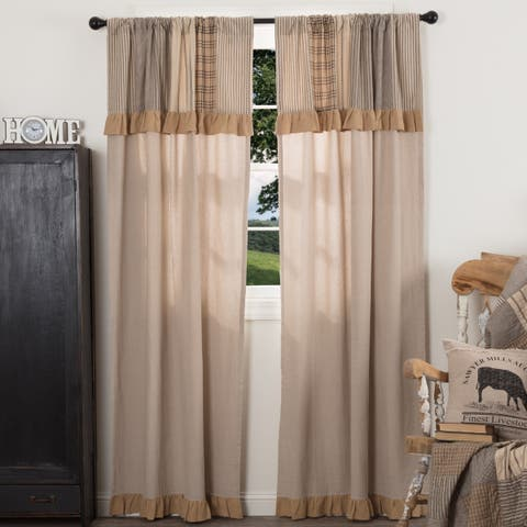 Farmhouse Curtains VHC Sawyer Mill Panel Pair Rod Pocket Cotton Patchwork Chambray - 84x40