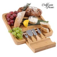 California picnic Cheese Board Set Charcuterie Board Wooden Cheese Tray with Cheese Knives Sets
