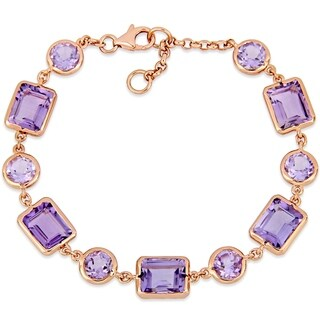Miadora Rose Plated Sterling Silver 15 1/3ct TGW Rose de France and Amethyst Link Bracelet