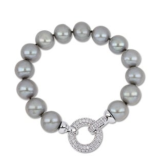 Miadora Sterling Silver Cultured Freshwater Pearl Cubic Zirconia Bracelet (12-13mm)