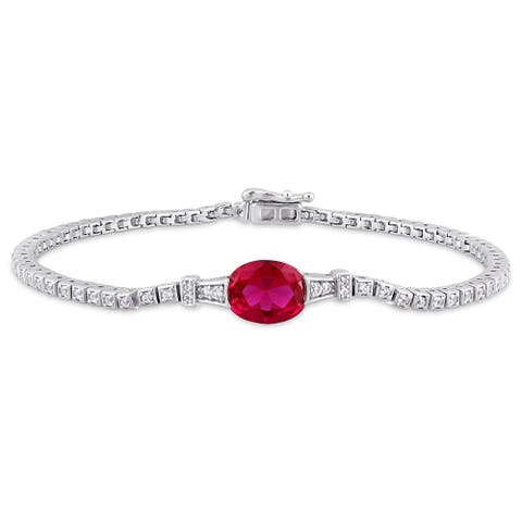 Miadora Sterling Silver Created Ruby Created White Sapphire Station Tennis Bracelet