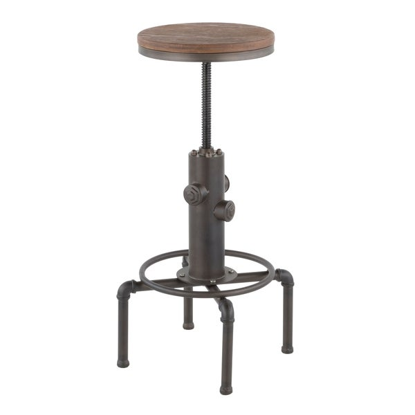 Carbon Loft Pimentel Industrial Barstool in Metal and Wood. Opens flyout.