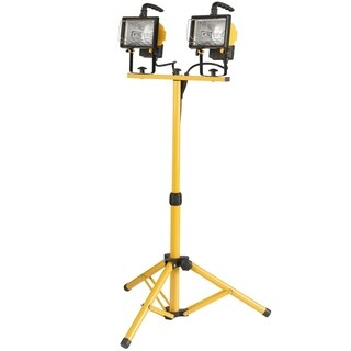 500W Twin-Head Halogen Work Light, Yellow Finish, Adjustable Tripod, Bulbs Included
