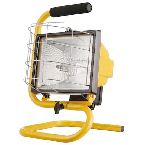 500W Portable Halogen Work Light with Floor Stand & Foam Handle, Yellow Finish, Bulb Included