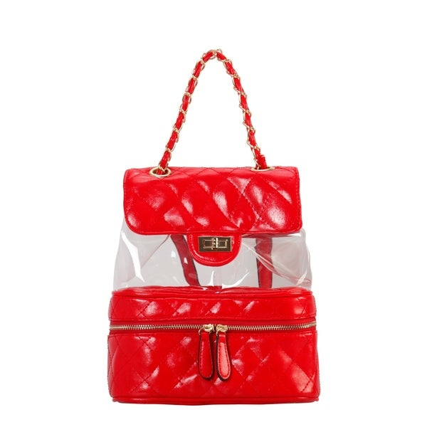 f2fca2b6390 Shop Diophy PU Leather Fashion Clear Quilted Backpack - On Sale ...