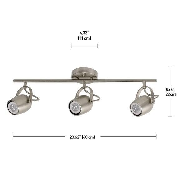 Samara 3-Light Brushed Nickel Track Lighting Kit, LED Bulbs Included