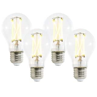 Light Society Aria A19 Shape LED Filament Light Bulb, Set of 4