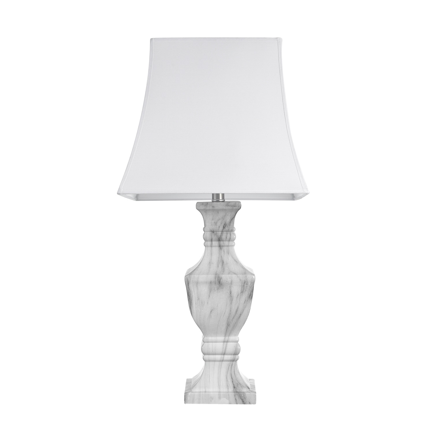 Athens 28 Table Lamp Marble Finish White Shade Led Bulb Included On Sale Overstock 22591960