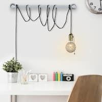 Edison 1-Light Plug-In Mini Pendant, Bronze, Matte Finish, Designer Black Fabric Cord, Pull Chain On/Off Switch