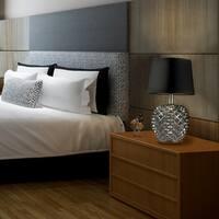 "Nirvana 17"" Table Lamp, Chrome Studded Base, Black Fabric Shade, LED Bulb Included"