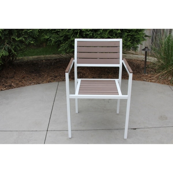 Stupendous Single White Aluminum And Brown Wood Outdoor Patio Chair Onthecornerstone Fun Painted Chair Ideas Images Onthecornerstoneorg