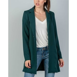 Link to JED Women's Longline Huntergreen Open Front Casual Blazer Similar Items in Suits & Suit Separates