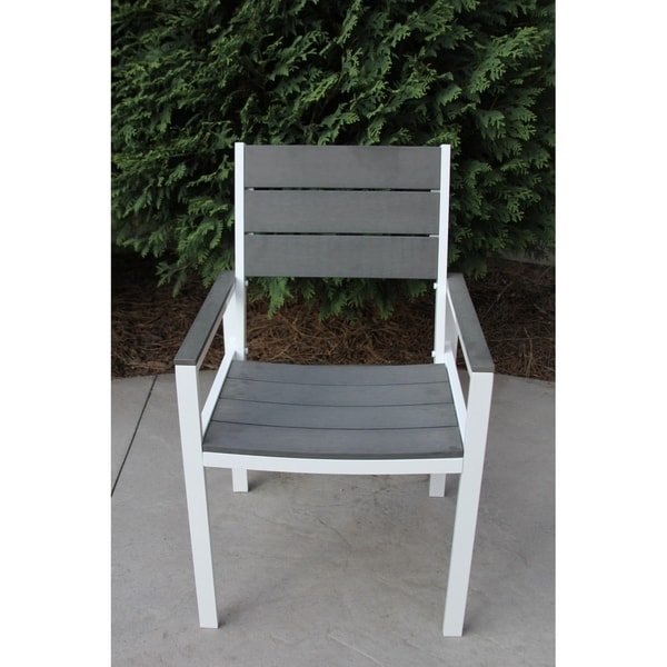 Pleasing Single White Aluminum And Grey Wood Outdoor Patio Chair Download Free Architecture Designs Ogrambritishbridgeorg