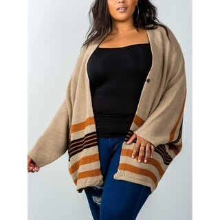 JED Women's Oversized Dolman Striped Sweater Cardigan