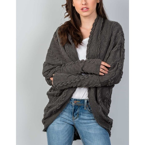 c1ce6466ded55 Shop JED Women s Cable Knit Cocoon Sweater Cardigan - Free Shipping ...