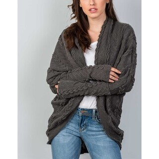 JED Women's Cable Knit Cocoon Sweater Cardigan