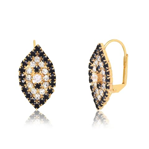 Gold Plated Black and White Swarovski Crystal Earrings