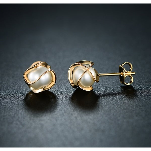 Caged Pearl Stud Earring Made with 18k Yellow Gold Overlay
