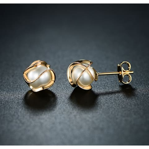 Gold Plated Faux Pearl Cage Stud Earring