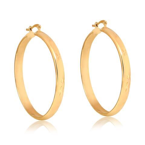 Gold Plated Gold 50mm Engraved Hoop Earrings