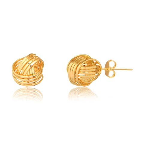 Gold Plated Gold 4 Row Love Knot Stud Earrings