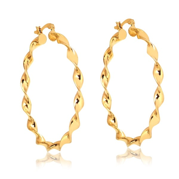 Shop Gold Plated Gold Twist Hoop Earrings On Sale Free Shipping
