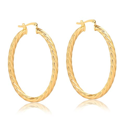 Gold Plated 40mm Braided Hoop Earrings
