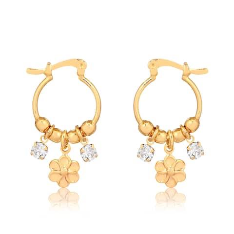 Gold Plated Flower Cubic Zirconia Earrings