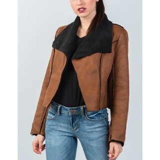 JED Women's Vegan Shearling Wide Collar Cropped Jacket