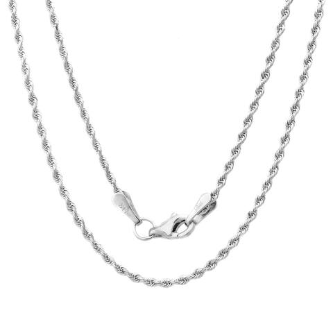 14k White Gold 1.5 mm Rope Chain Necklace ( 16-30 Inch )
