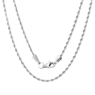 14k White Gold Diamond-cut Rope Chain Necklace