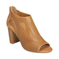 Women's Aerosoles High Frequency Open Toe Bootie Dark Tan Leather
