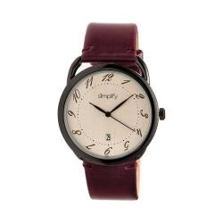 Simplify 4900 Leather Band Watch Plum Leather/Black