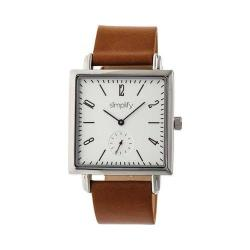 Simplify 5000 Leather Band Watch Brown Leather/Silver