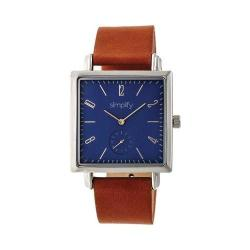 Simplify 5000 Leather Band Watch Brown Leather/Silver/Blue