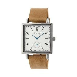 Simplify 5000 Leather Band Watch Khaki Tan Leather/Silver