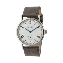 Simplify 5100 Leather Band Watch Charcoal Leather/Silver