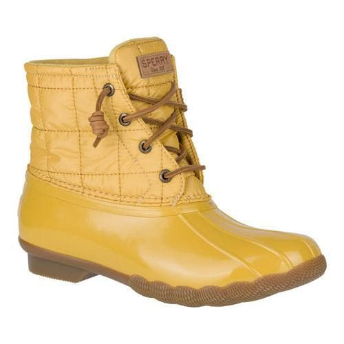 3b0b59f3cab Women's Sperry Top-Sider Saltwater Duck Boot Yellow Shiny Quilt Textile/EVA