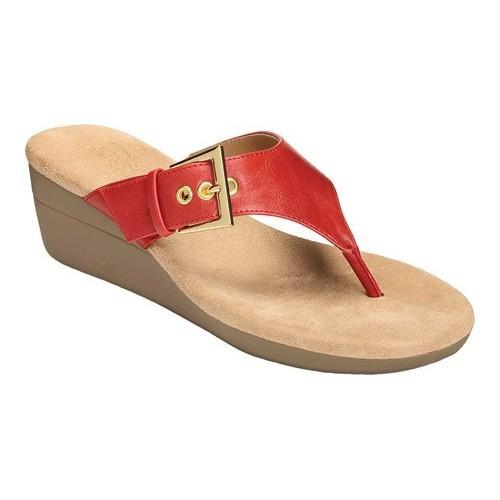 6ac83043e98 Shop Women s Aerosoles Flower Thong Sandal Red Faux Leather - Free Shipping  On Orders Over  45 - Overstock - 19315584