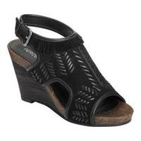 Women's Aerosoles Waterfront Wedge Sandal Black Suede/Leather