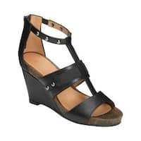 Women's Aerosoles Watermark Wedge Sandal Black Faux Leather