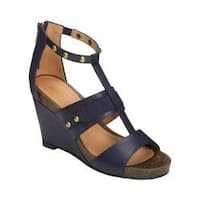Women's Aerosoles Watermark Wedge Sandal Dark Blue Faux Leather